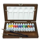 Van Gogh Aquarelverf artists box 12 x 10 ml, penselen en mengschaal