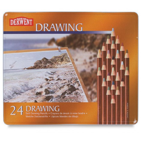 Derwent soft drawing pencils metalen doos 24 kleuren
