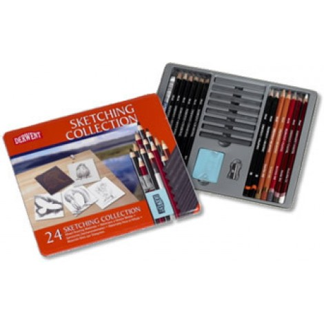 Derwent Sketching collection metalen doos 24 stuks