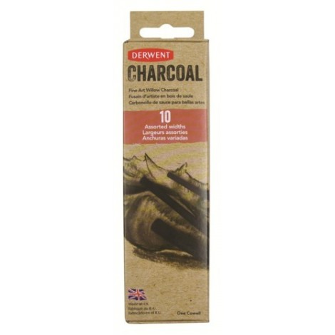 Derwent willow charcoal - assortie set 10 stuks (4x dun, 4x medium 2x dik)
