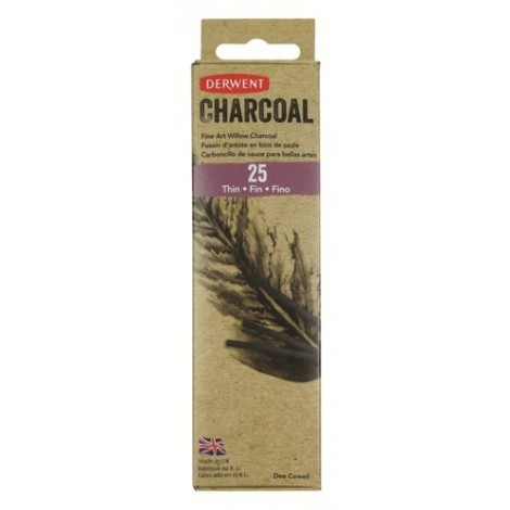 Derwent willow charcoal - set 25 st. houtskool dun (2-3 mm.)