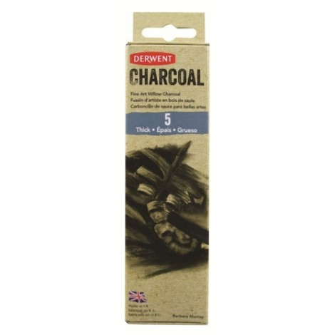 Derwent willow charcoal - set 5 st. houtskool dik (7-9 mm.)