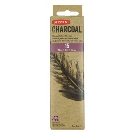 Derwent willow charcoal - set 15 st. houtskool dun (2-3 mm.)