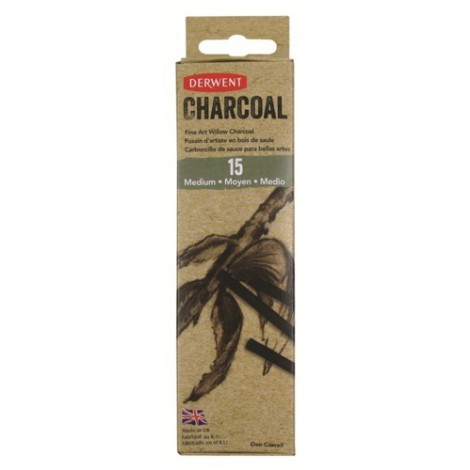 Derwent willow charcoal - set 15 st. houtskool medium (4-6 mm.)