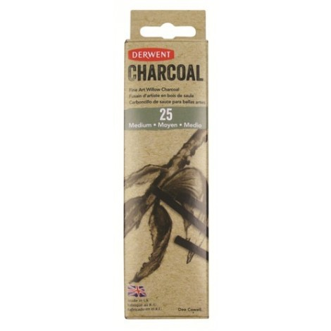 Derwent willow charcoal - set 25 st. houtskool medium (4-6 mm.)